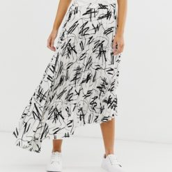 ASOS DESIGN satin pleated midi skirt in mono print