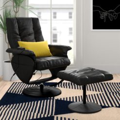Leather+Reclining+Heated+Massage+Chair+with+Ottoman