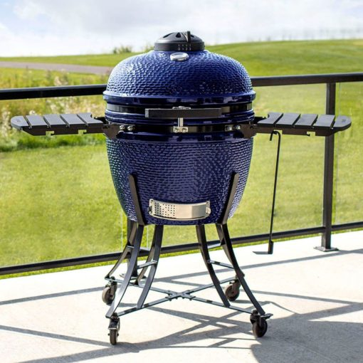 Lifesmart Deen Brothers Series 15 Blue Kamado Ceramic Grill Value Bundle Includes Electric Starter Cooking Stone and Cover