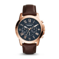 Men's Fossil Chronograph Grant Brown Leather Strap Watch 44mm