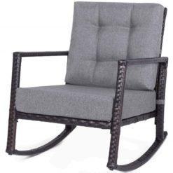 Merax Patio Rattan Rocking Chair, Your Choice: Orange Cushions or Gray Cushions