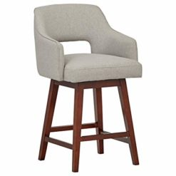 "Rivet Malida Mid-Century Modern Open Back Swivel Kitchen Counter-Height Bar Stool, 37""H, Felt Grey"