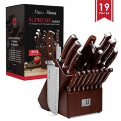 Roll over image to zoom in 19-Piece Premium Kitchen Knife Set With Wooden Block | Master Maison German Stainless Steel Cutlery With Knife Sharpener & 8 Steak Knives