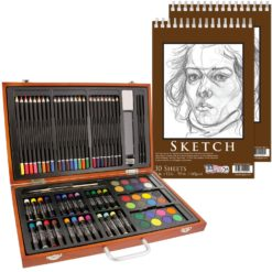 "U.S. Art Supply 82 Piece Deluxe Art Creativity Set in Wooden Case with 2-Pads of 9""x12"" 90 Pound 30 Sheet Sketch Books"