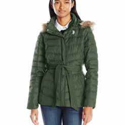 U.S. POLO ASSN. Belted Puffer Jacket with Fur Hood