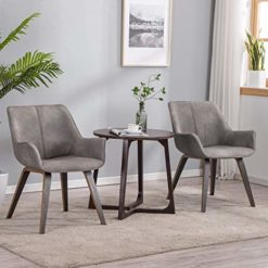YEEFY Gray Leather Living Room Room Chairs with arms Contemporary Living Room Chairs Set of 2 (Ashen)