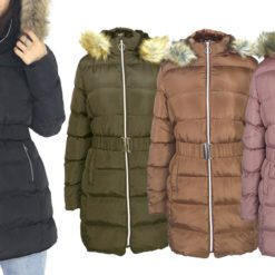 LeeHanTon Women's Puffer Sherpa-Lined, Hooded, Belted Coat. Plus Sizes Available.