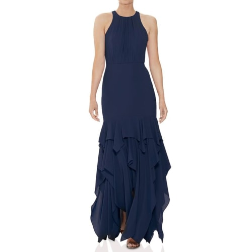 HALSTON Georgette Flounced Tier Gown